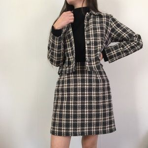 Vintage Plaid Two piece Skirt Suit